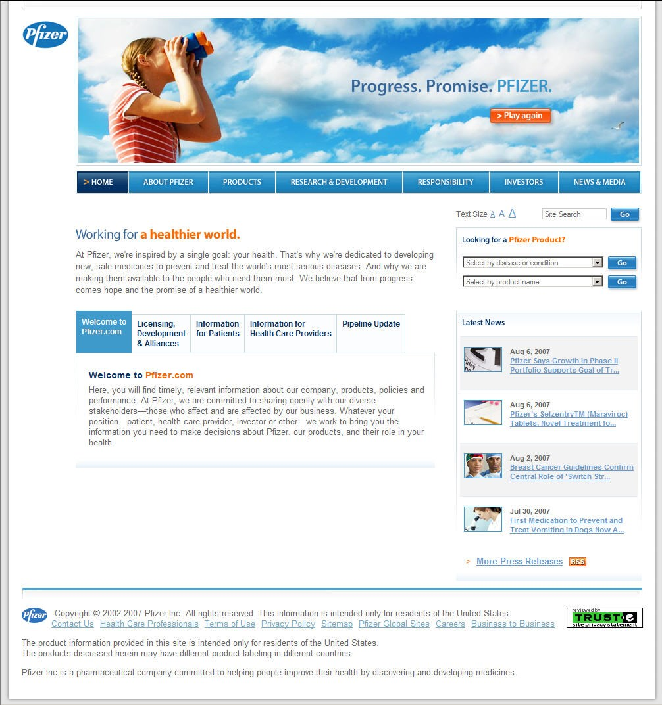 Pfizer unveils new consumer Web site