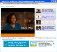 A Chantix banner ad accompanies health-related videos from HealthiNation