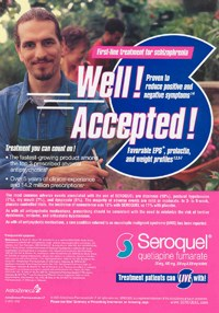 "Seroquel ads have stressed ""favorable weight profiles""; above, a US journal ad"
