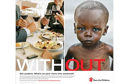 This piece from ghg promoted the hunger-relief efforts of the Save the Children Federation
