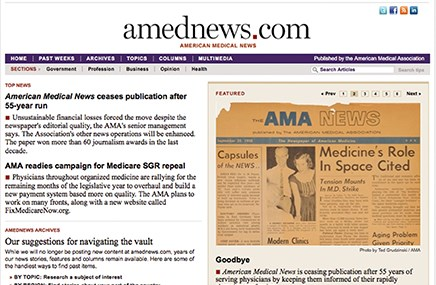 AMA has closed the book on American Medical News