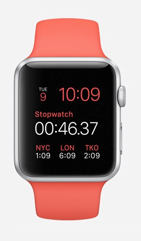 The Apple Watch Sport 38mm with pink strap