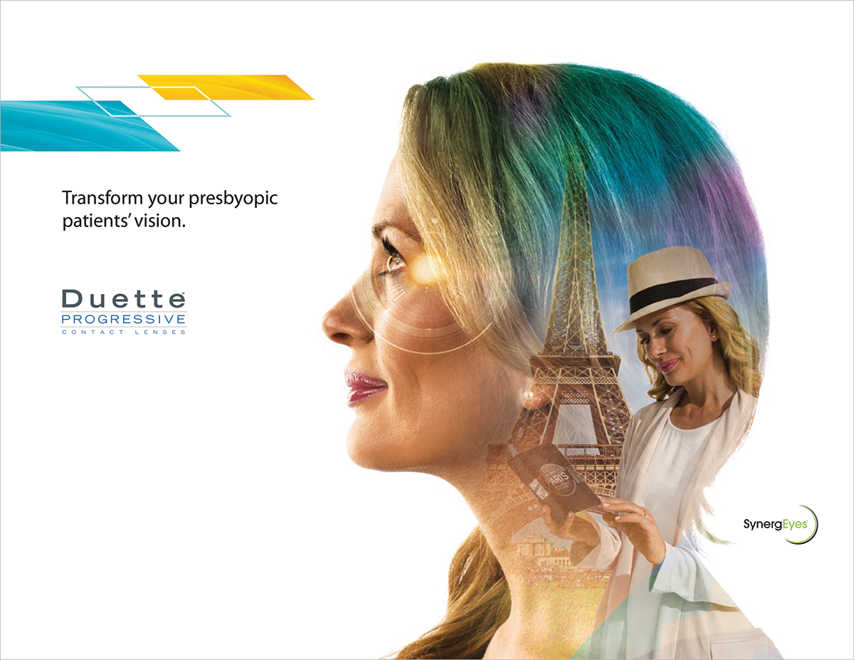 DevicePharm's brochure cover for Duette progressive contact lenses' Synergeyes corporate and product portfolio campaign