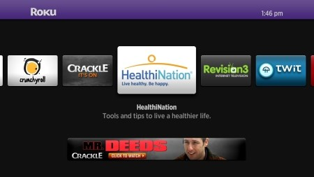 HealthiNation's app appears on Roku set-top players thanks to a syndication deal