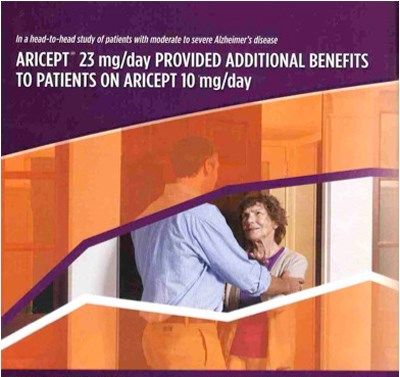 Part of advertisement for donepezil 23 mg aimed at doctors (courtesy Kantar Media)