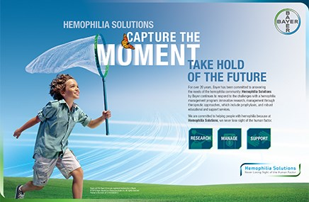 An advertisement for Bayer's Hemophilia Solutions