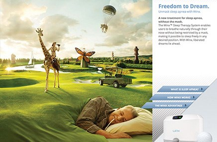 The website for Apnicure's Winx Sleep Therapy