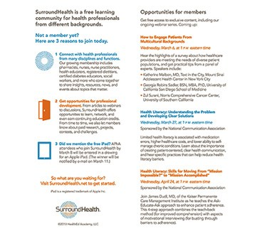 Growing an online learning community, SurroundHealth, for healthcare extenders
