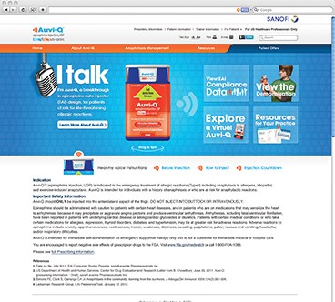 """I talk"": Auvi-Q Branded Health Care Professional Website Clinical Advisor"