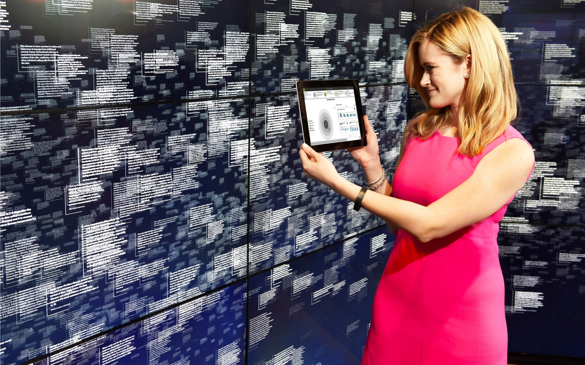 A project manager for IBM's new Watson health business unit demonstrates the company's healthcare data offering.