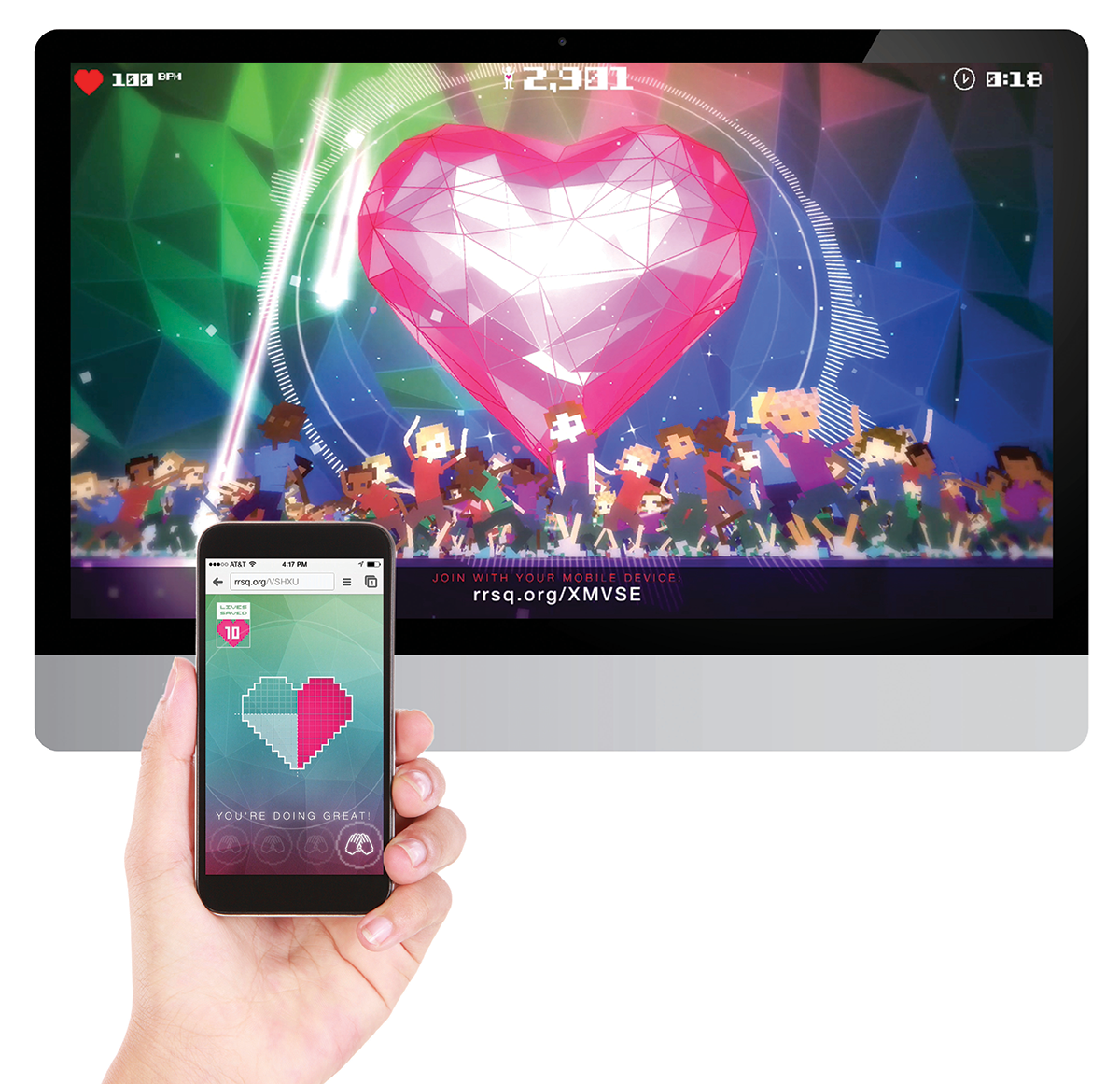 CDM New York's work in motion: The Rhythm Rescue Game for the American Heart Association, a multiscreen gaming app for hands-only CPR
