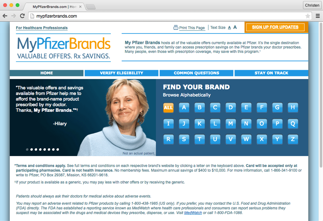 Create NYC's creative team came up with Mypfizerbrands.com as an umbrella within which to house content for 42 Pfizer brands