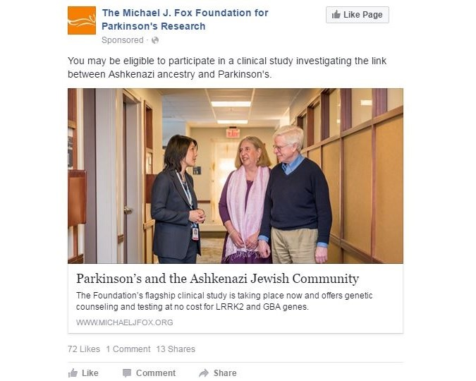 The Michael J. Fox Foundation uses Facebook to recruit Ashkenazi Jews for Parkinson's study